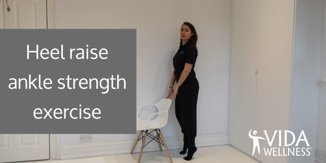 This is the opening slide of the Heel Raise Ankle Strength exercise video