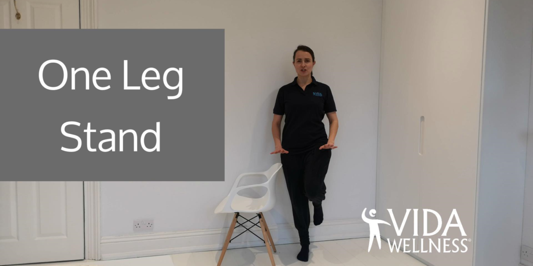 front screen of one leg stand balance exercise video